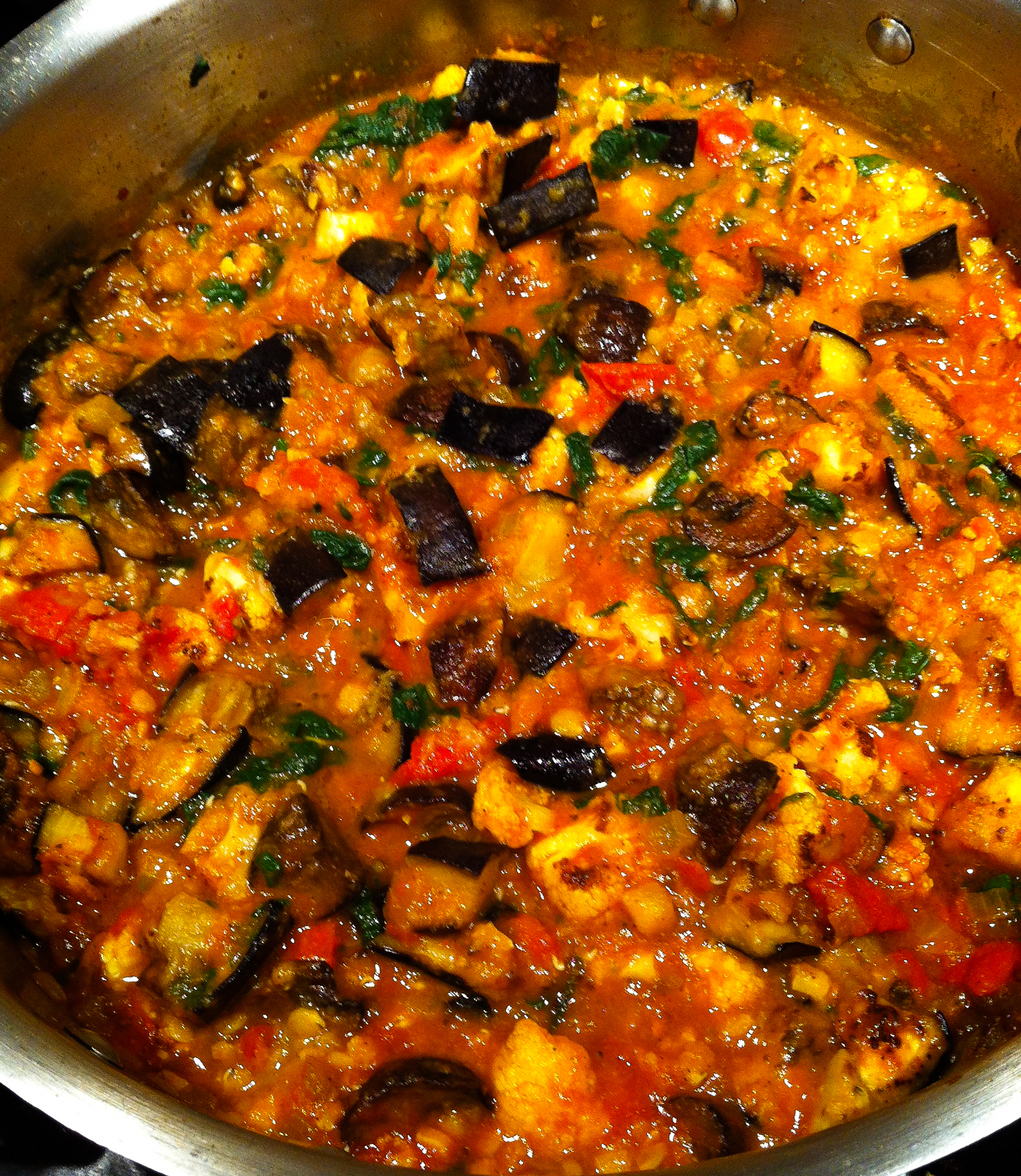 Indian-Style Red Lentil, Eggplant and Cauliflower Vegetable Stew