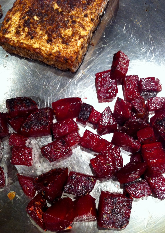 roasted tofu and beets