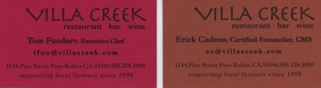 villa creek restaurant cards