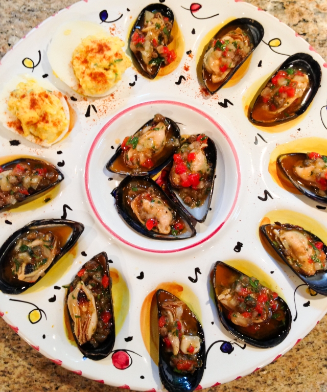 deviled eggs and mussels