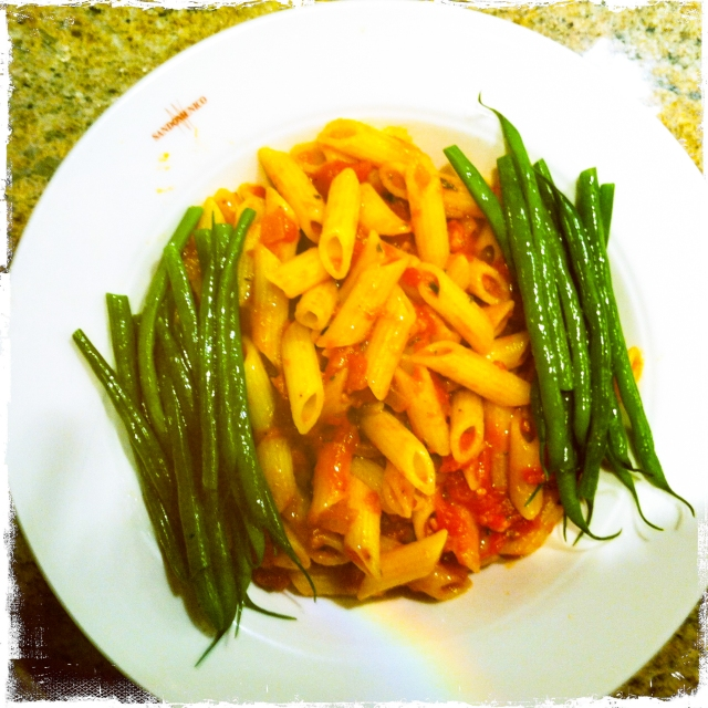 pasta bowl and green beans