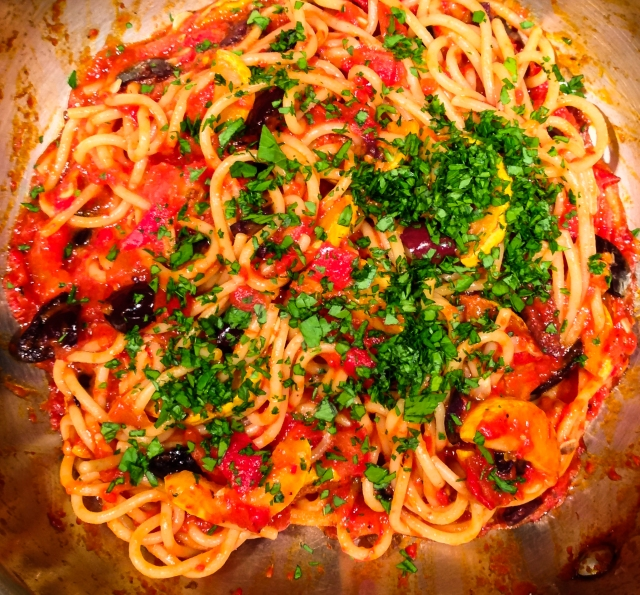 pasta & sauce are ready in pan-30