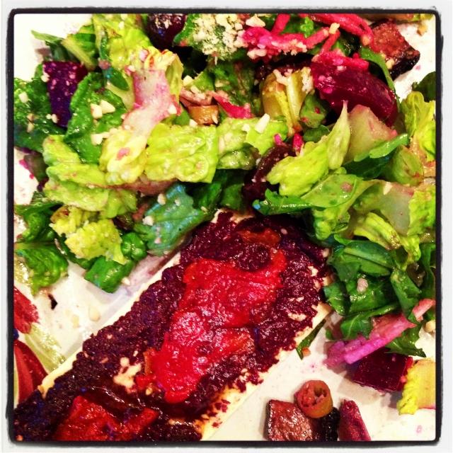 salad and flatbread