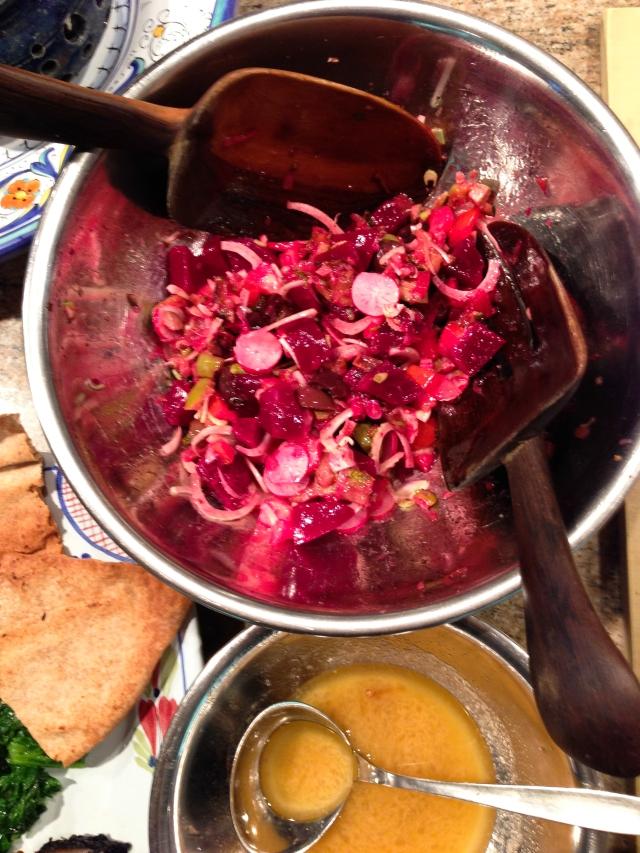 beet salad with radishes, fennel etc