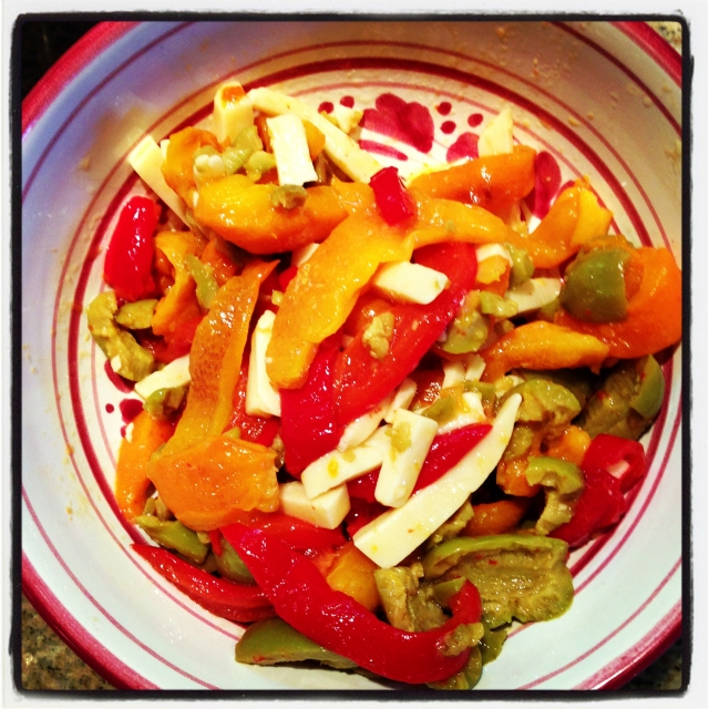 Peppers, Olives and Fontina Salad