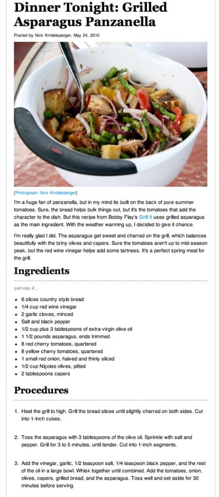 Bobby Flay's Grilled Asparagus Panzanella