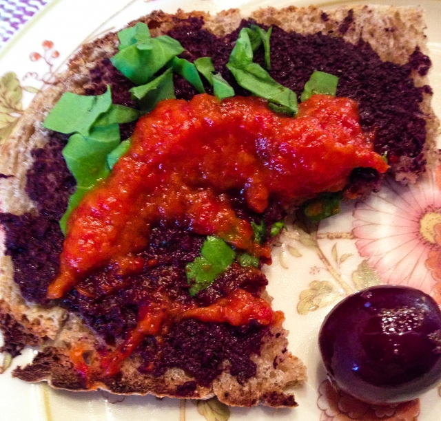 bruschetta tapenade sorrel and pepper purée