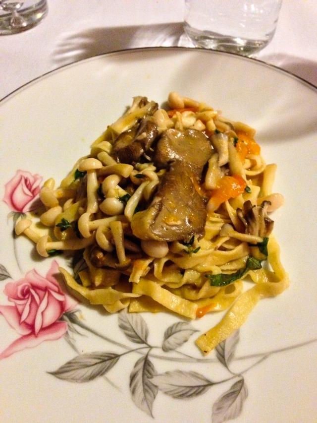 Fettucine and mushrooms
