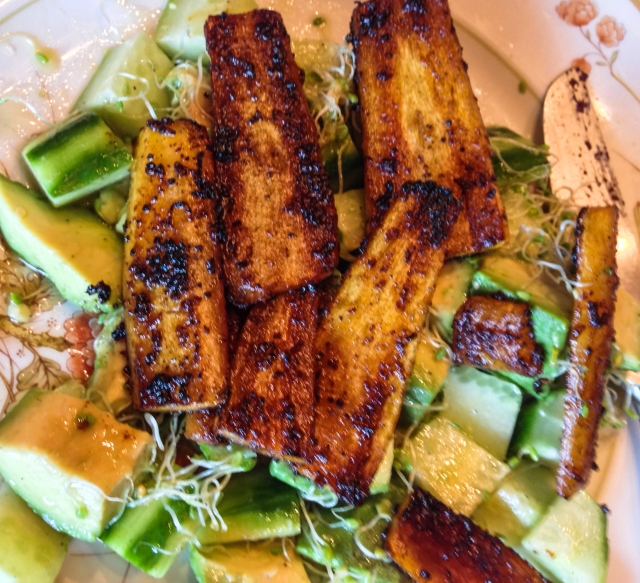 Roasted carrots with Avocado and Cucumber