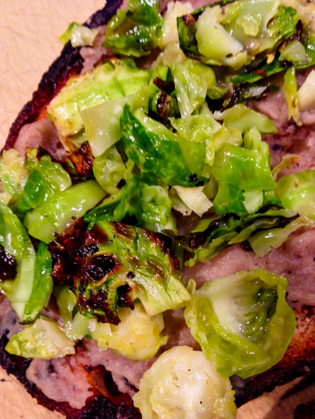 grilled bread with sprouts and purée
