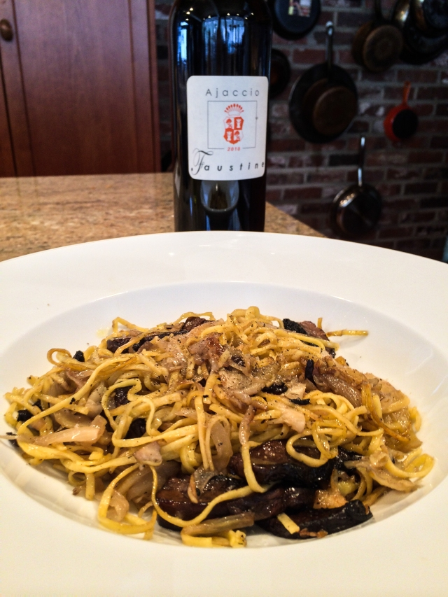 pasta plate and wine bottle (1 of 1)