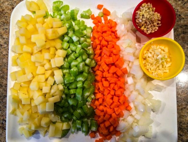 red lentil soup fixins