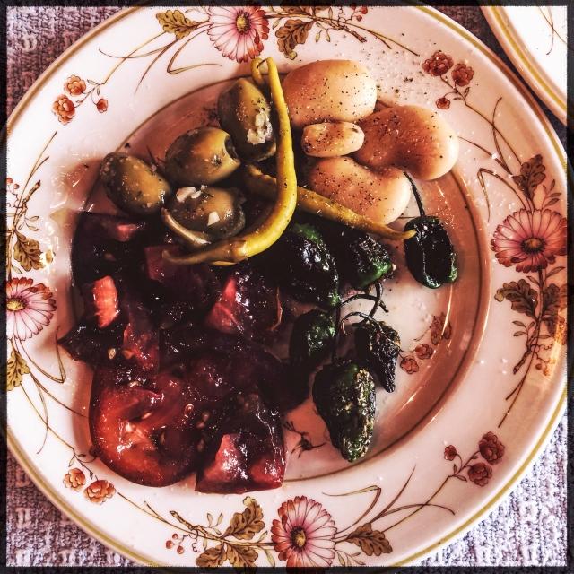 padrons beans tomato olives guindilla