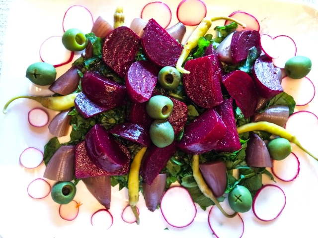 Beets, Red Onions, and Arugula