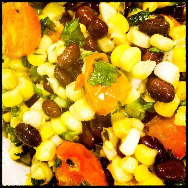 black bean tomato corn salad and bread-3