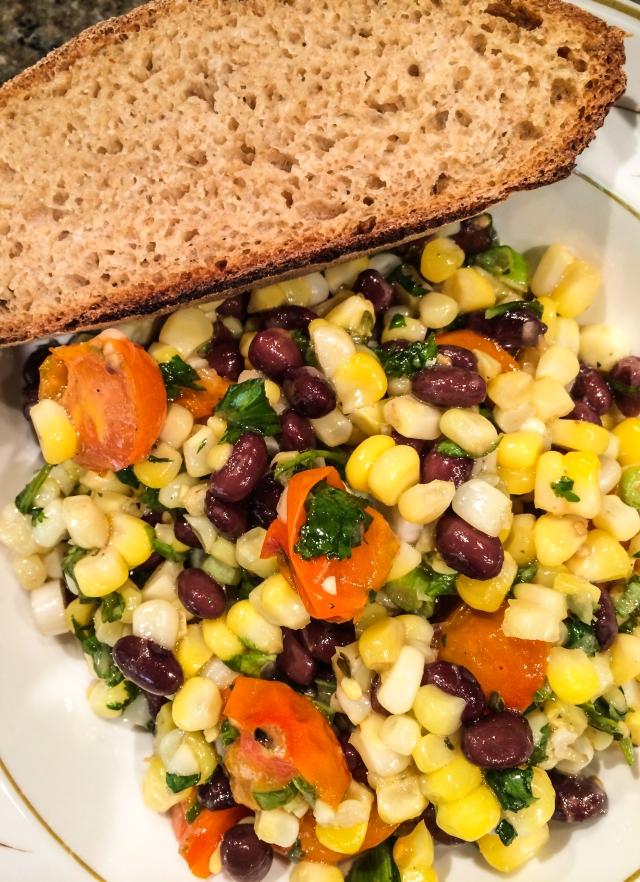 black bean tomato corn salad and bread