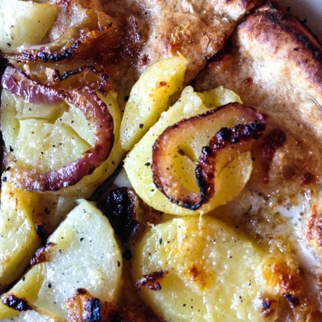 potato, red onion and pecorino closeup