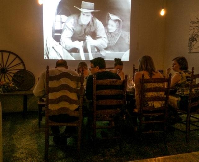 Western movie at dinner