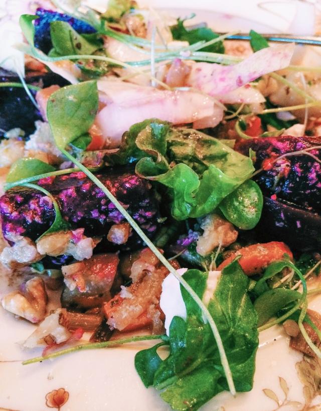 beet-endive-walnuts-microgreens-feta-arugula salad