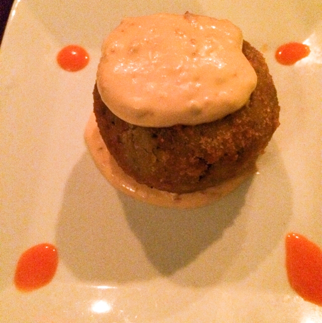Blossom black-eyed pea cake with potatoes and chipotle aioli