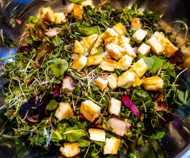 Halloumi added to salad