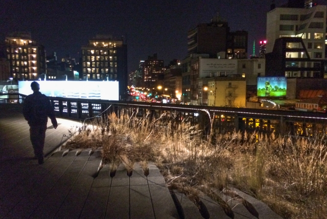 walking the High Line in the evening