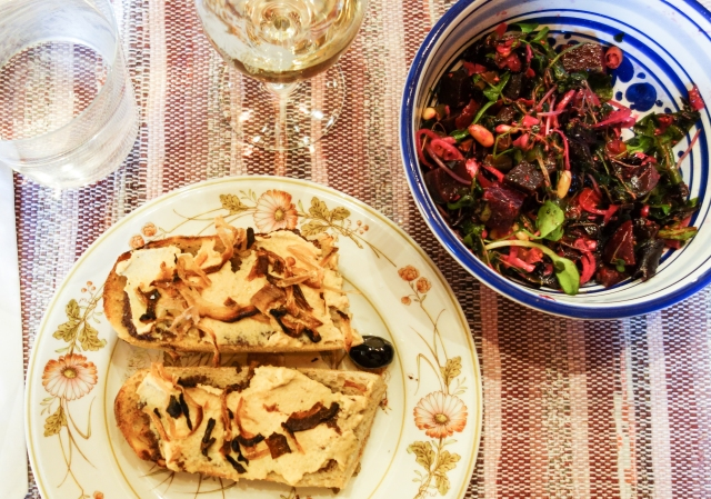 lunch of ficelle, hummus, and beet-micro greens salad