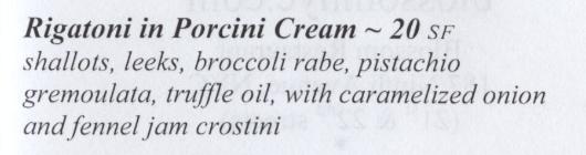 Rigatoni with Porcini Cream