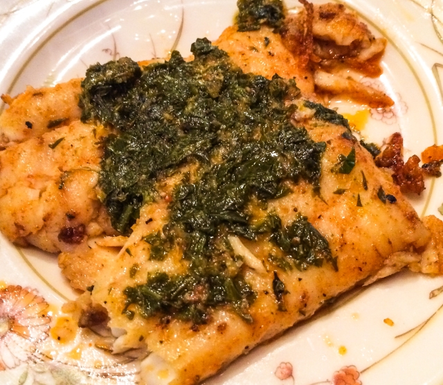 spice-rubbed lemon sole with lemon-parsley sauce