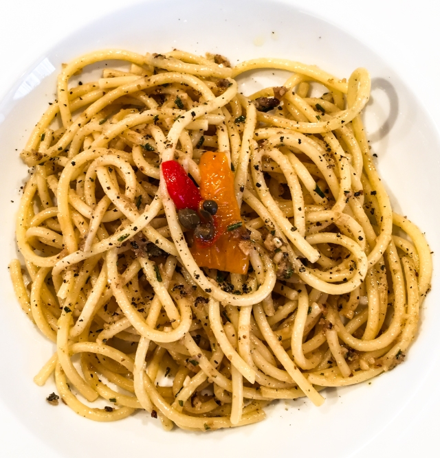 Bucatini with anchovies, rosemary and garlic