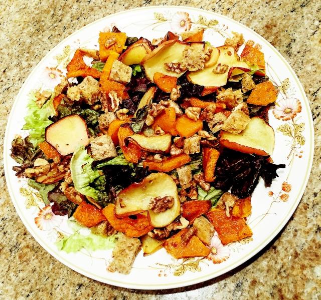 roasted apple slices salad with miso tahini dressing