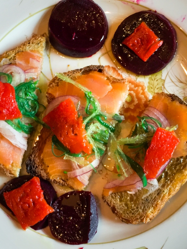 smoked salmon and beets for lunch-2