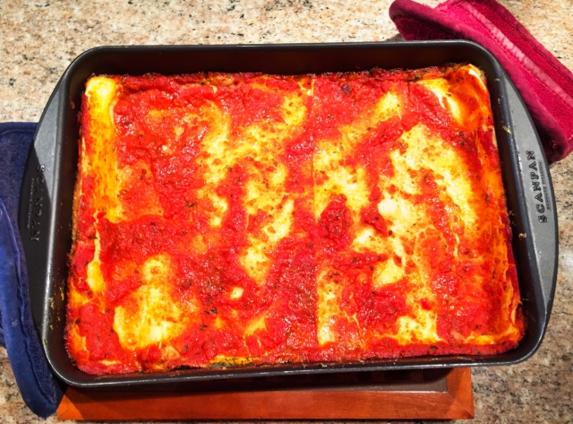 baked lasagne out of oven