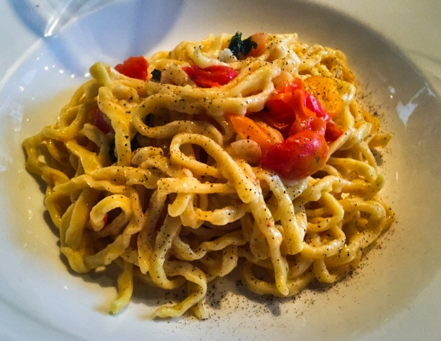 Chitarra with tomatoes and pecorino