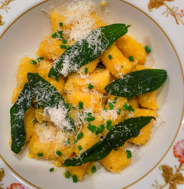 gnocchi with fried sage leaves and cheese