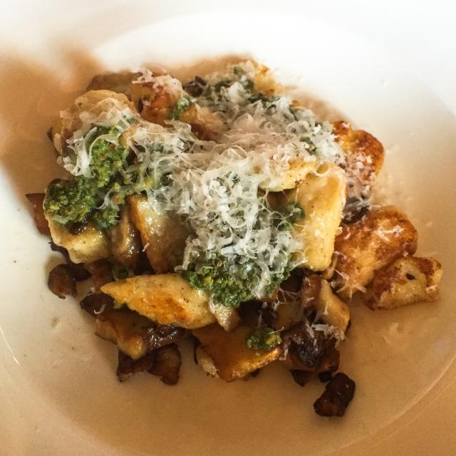 Gnocchi with Mushrooms and Arugula Pesto
