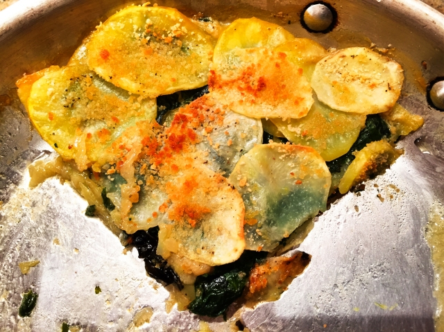 potato and greens gratin
