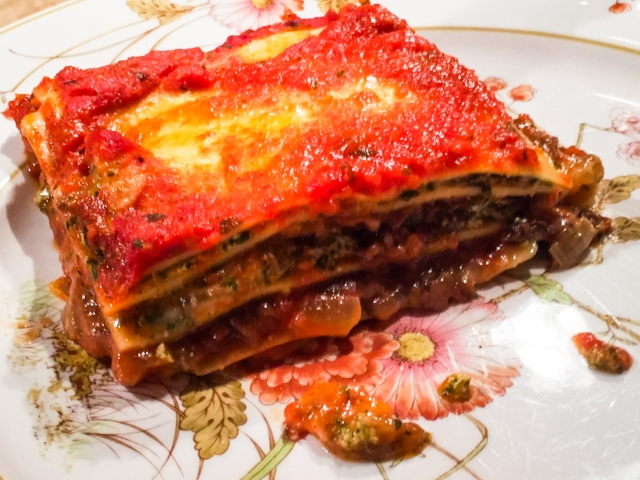 slice of lasagne on the plate