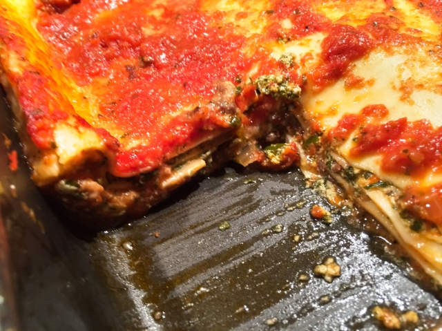 slice of lasagne out of pan