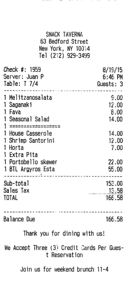 Snack Taverna bill