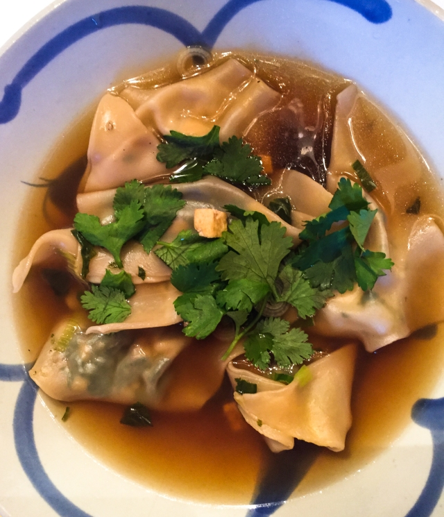Spinach and Tofu Wontons