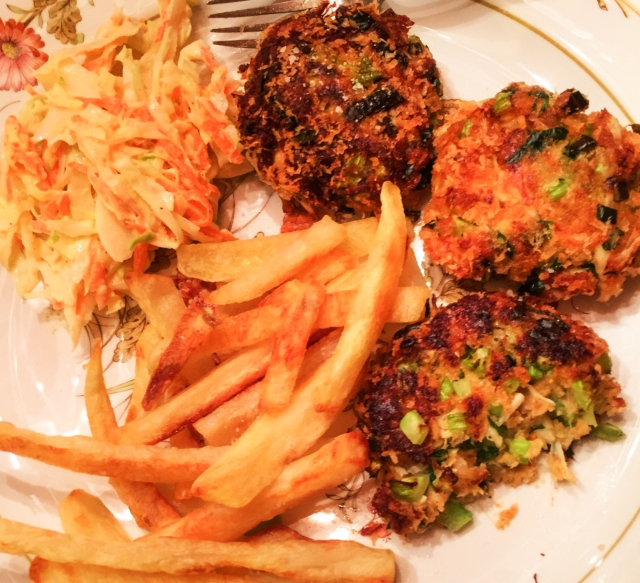 crab cakes, french fries and cole slaw