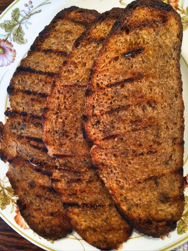 pan-grilled homemade rye bread with caraway
