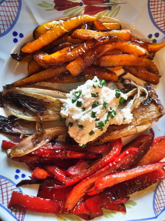 pan-roasted sweet peppers, radicchio, and almond milk ricotta